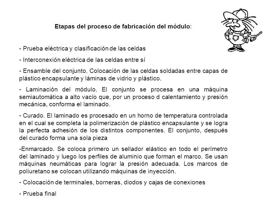 Etapas del proceso de fabricación del módulo: - Prueba eléctrica y clasificación de las celdas - Interconexión eléctrica de las celdas entre sí - Ensa