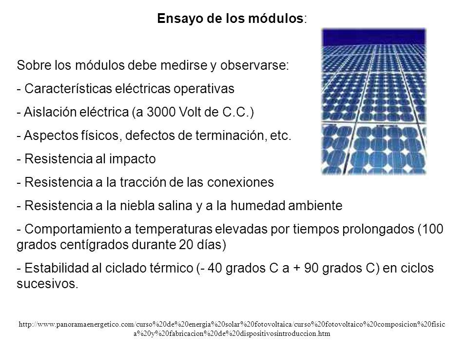 Ensayo de los módulos: Sobre los módulos debe medirse y observarse: - Características eléctricas operativas - Aislación eléctrica (a 3000 Volt de C.C.