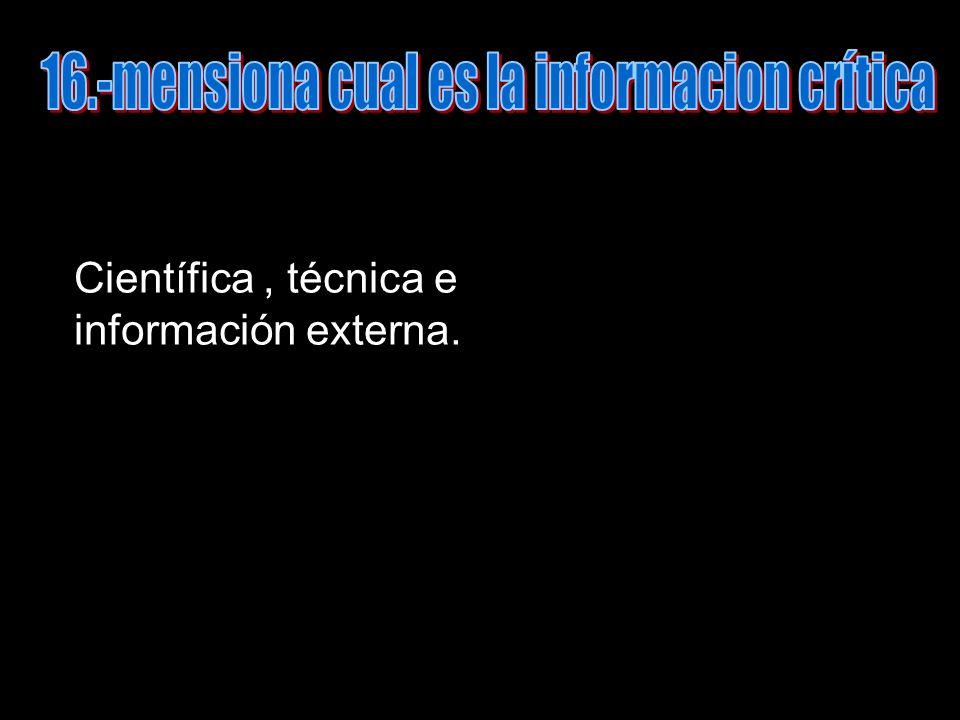 Científica, técnica e información externa.