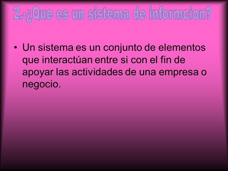 Un sistema es un conjunto de elementos que interactúan entre si con el fin de apoyar las actividades de una empresa o negocio.