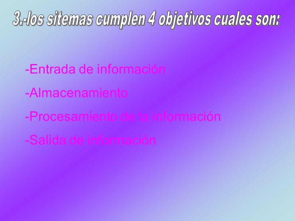 -Entrada de información -Almacenamiento -Procesamiento de la información -Salida de información