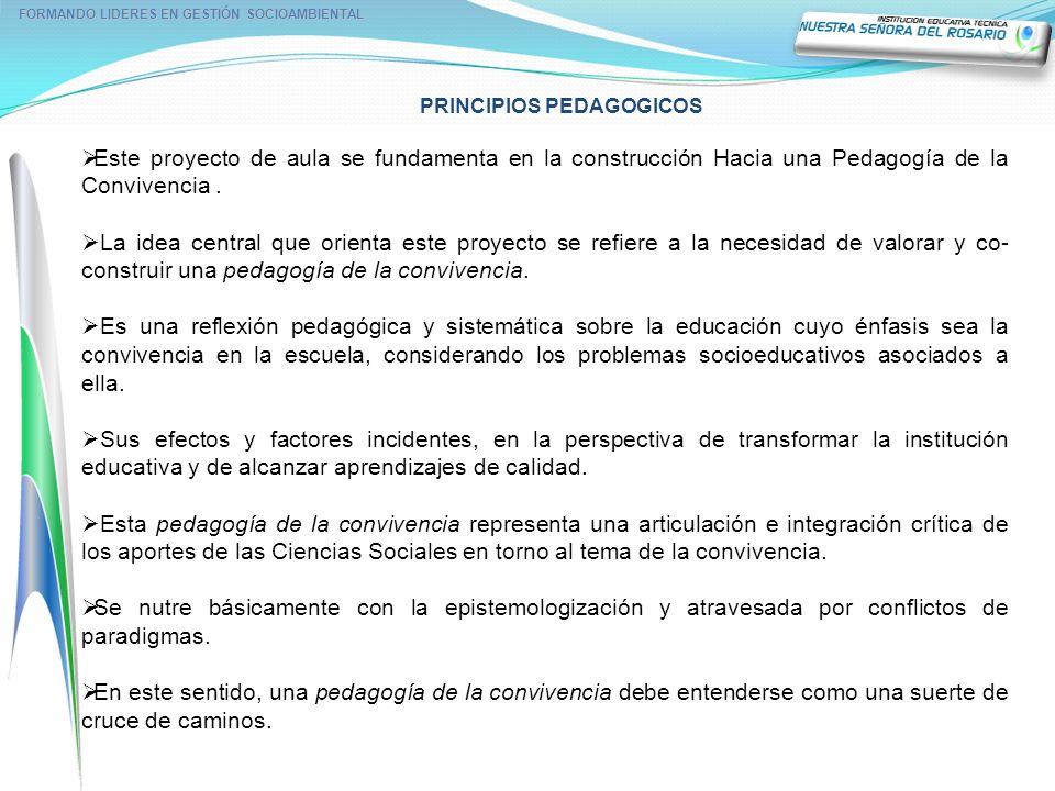 PRINCIPIOS PEDAGOGICOS FORMANDO LIDERES EN GESTIÓN SOCIOAMBIENTAL Este proyecto de aula se fundamenta en la construcción Hacia una Pedagogía de la Con