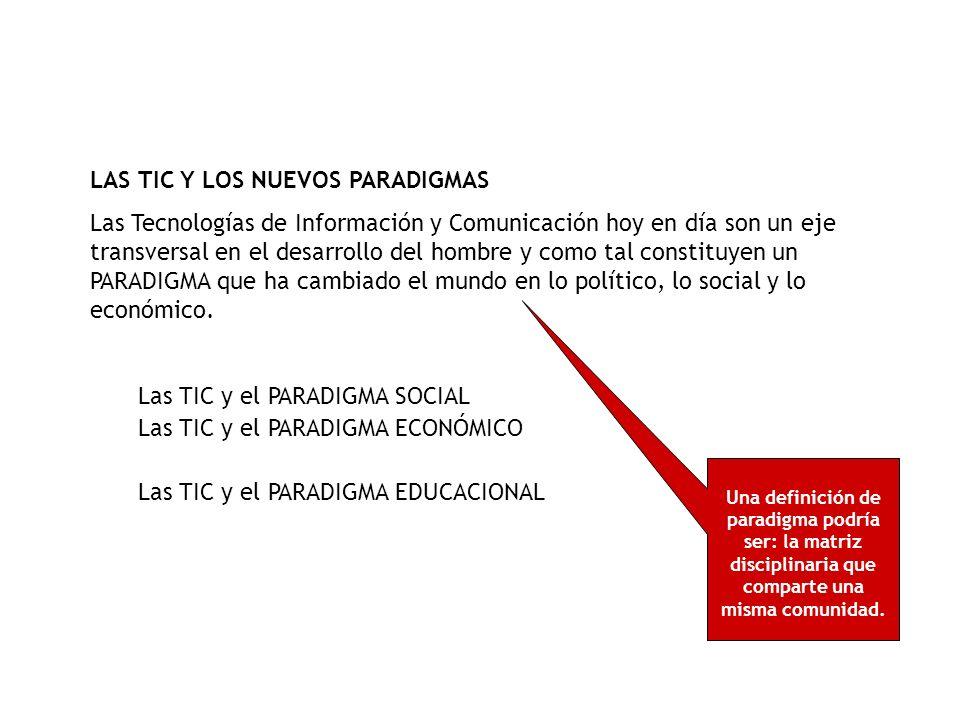 Las TIC y el PARADIGMA SOCIAL Las TIC han generado un cambio radical en la sociedad, Internet ha puesto en jaque las relaciones cara a cara.