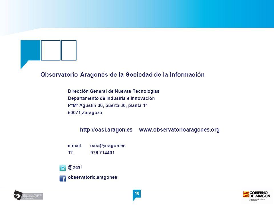 10 Observatorio Aragonés de la Sociedad de la Información Dirección General de Nuevas Tecnologías Departamento de Industria e Innovación PºMª Agustín