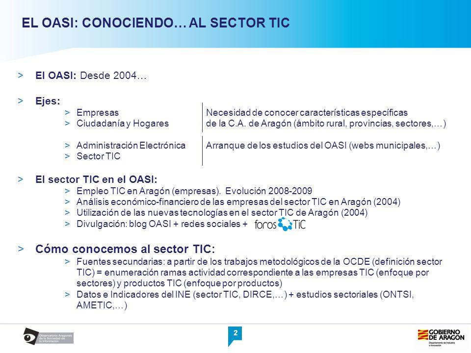 2 EL OASI: CONOCIENDO… AL SECTOR TIC El OASI: Desde 2004… Ejes: EmpresasNecesidad de conocer características específicas Ciudadanía y Hogaresde la C.A