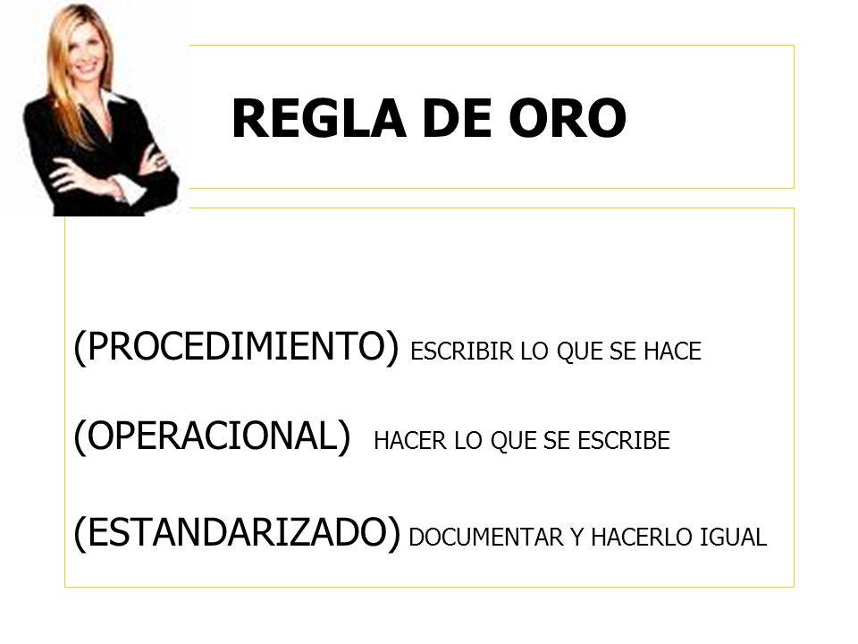 REGLA DE ORO (PROCEDIMIENTO) ESCRIBIR LO QUE SE HACE (OPERACIONAL) HACER LO QUE SE ESCRIBE (ESTANDARIZADO) DOCUMENTAR Y HACERLO IGUAL
