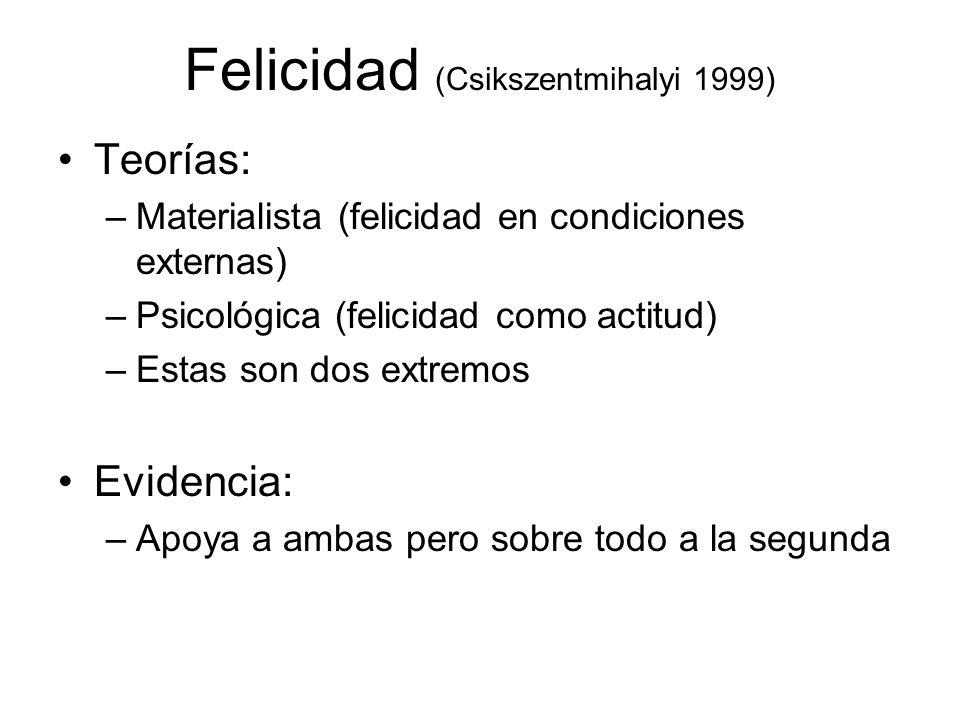 Felicidad (Csikszentmihalyi 1999) Teorías: –Materialista (felicidad en condiciones externas) –Psicológica (felicidad como actitud) –Estas son dos extremos Evidencia: –Apoya a ambas pero sobre todo a la segunda