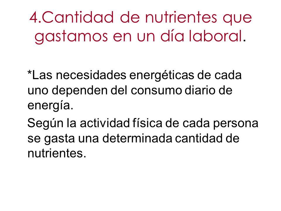 4.Cantidad de nutrientes que gastamos en un día laboral. *Las necesidades energéticas de cada uno dependen del consumo diario de energía. Según la act