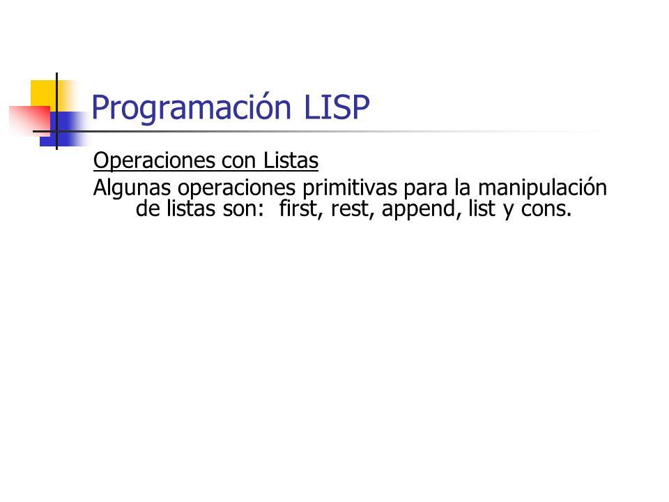 Operaciones con Listas Algunas operaciones primitivas para la manipulación de listas son: first, rest, append, list y cons. Programación LISP
