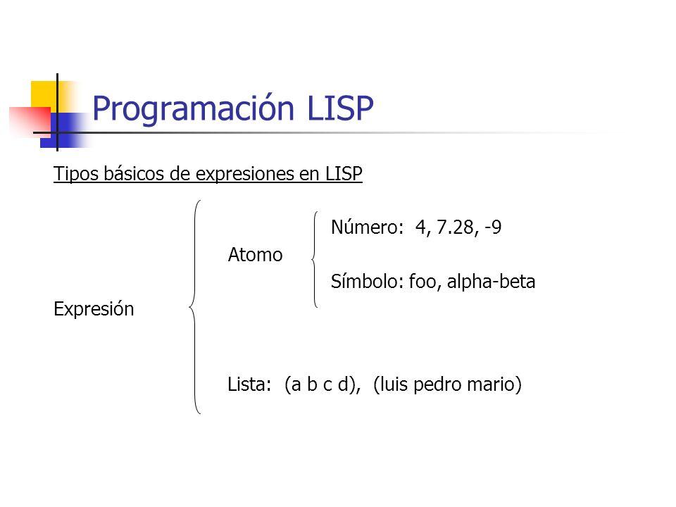 Tipos básicos de expresiones en LISP Número: 4, 7.28, -9 Atomo Símbolo: foo, alpha-beta Expresión Lista: (a b c d), (luis pedro mario) Programación LI