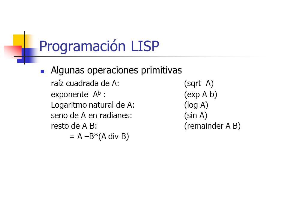 Algunas operaciones primitivas raíz cuadrada de A:(sqrt A) exponente A b :(exp A b) Logaritmo natural de A:(log A) seno de A en radianes:(sin A) resto