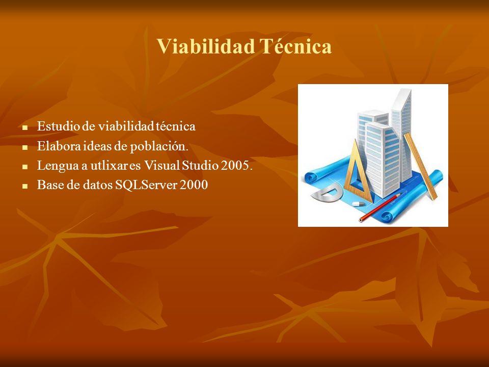 Viabilidad Técnica Estudio de viabilidad técnica Elabora ideas de población. Lengua a utlixar es Visual Studio 2005. Base de datos SQLServer 2000