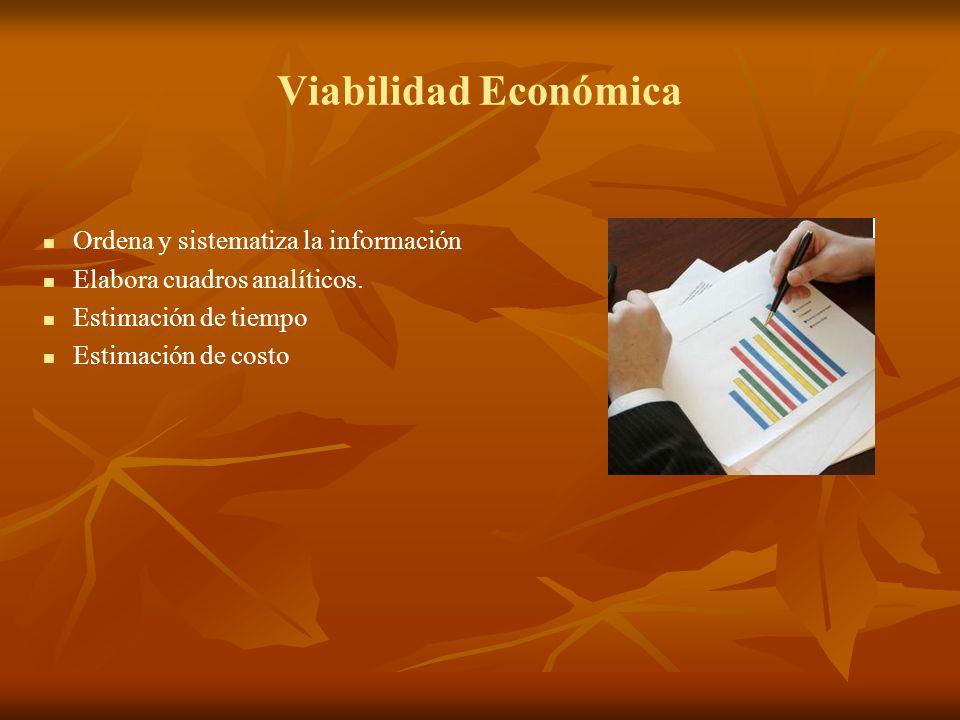 Viabilidad Económica Ordena y sistematiza la información Elabora cuadros analíticos. Estimación de tiempo Estimación de costo
