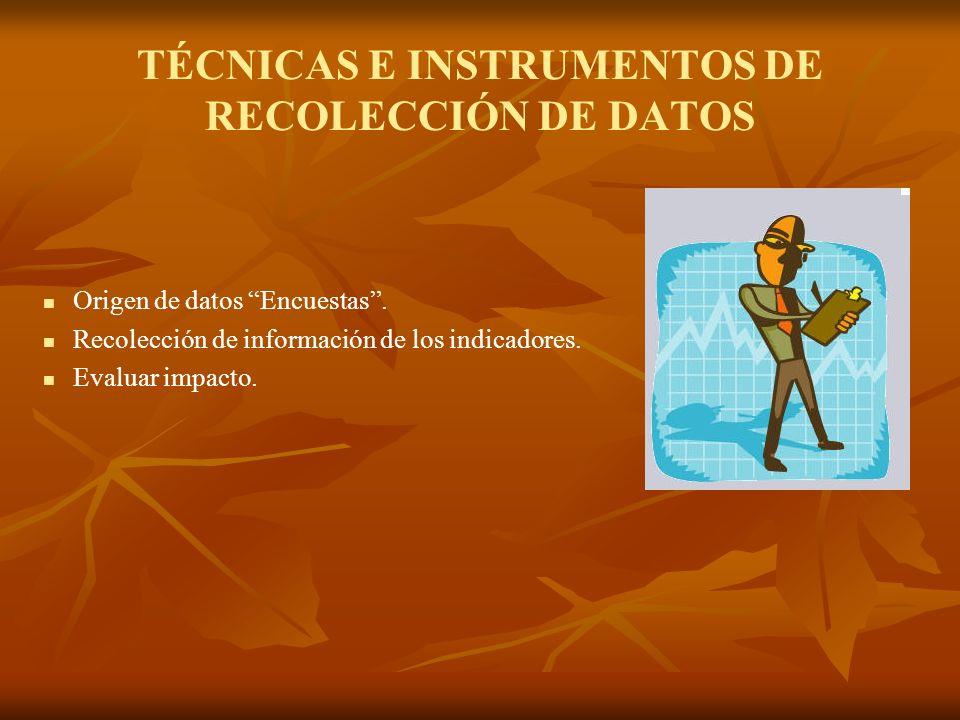 TÉCNICAS E INSTRUMENTOS DE RECOLECCIÓN DE DATOS Origen de datos Encuestas. Recolección de información de los indicadores. Evaluar impacto.