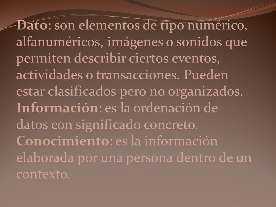 Dato: son elementos de tipo numérico, alfanuméricos, imágenes o sonidos que permiten describir ciertos eventos, actividades o transacciones. Pueden es