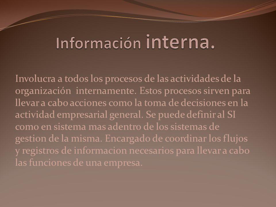 Involucra a todos los procesos de las actividades de la organización internamente. Estos procesos sirven para llevar a cabo acciones como la toma de d