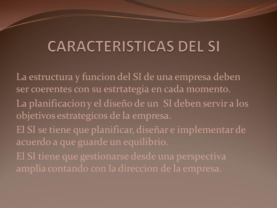 La estructura y funcion del SI de una empresa deben ser coerentes con su estrtategia en cada momento. La planificacion y el diseño de un SI deben serv