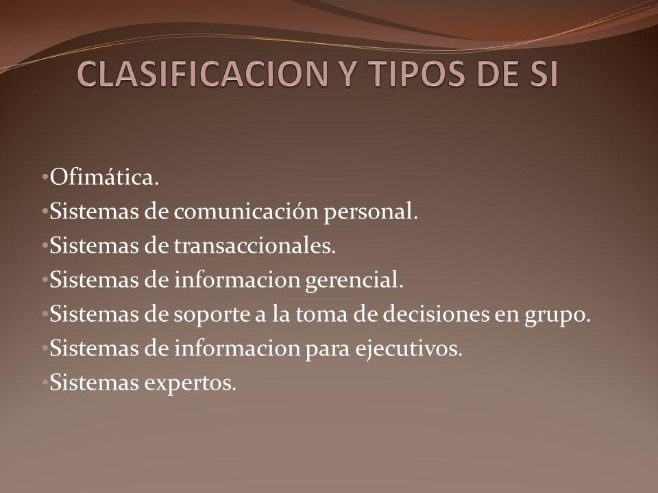 Ofimática. Sistemas de comunicación personal. Sistemas de transaccionales. Sistemas de informacion gerencial. Sistemas de soporte a la toma de decisio