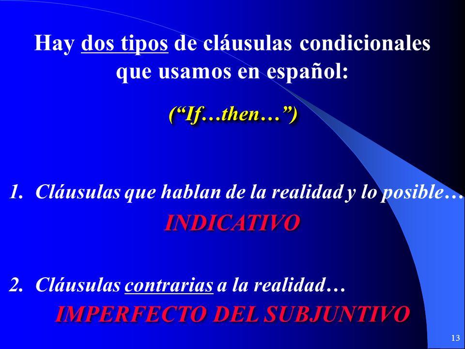 12 Conditional Clauses (Las Cláusulas Condicionales) (Las Cláusulas con si)