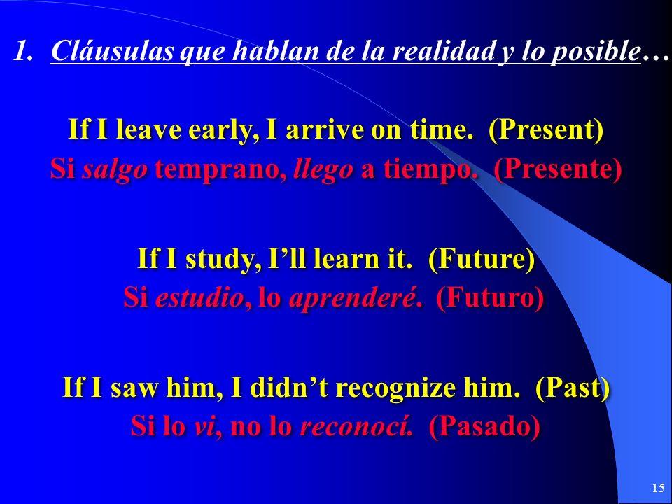 14 1. La realidad y lo posible… Si + + indicativo + + presente (pretérito) presente (pretérito) futuro (presente) (pretérito) futuro (presente) (preté