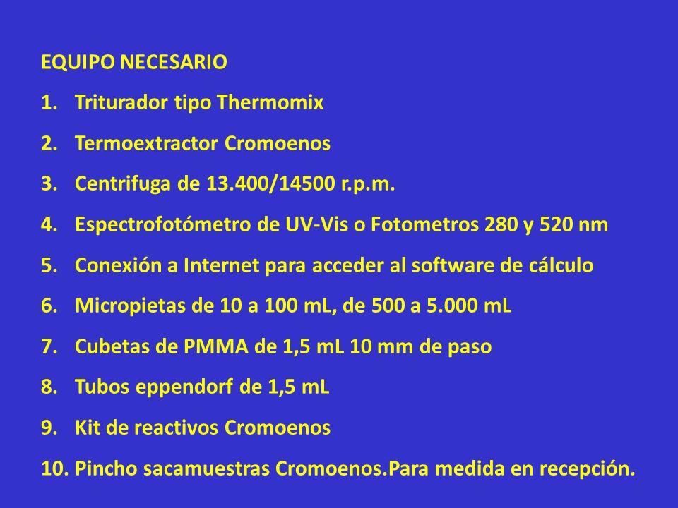 EQUIPO NECESARIO 1.Triturador tipo Thermomix 2.Termoextractor Cromoenos 3.Centrifuga de 13.400/14500 r.p.m. 4.Espectrofotómetro de UV-Vis o Fotometros