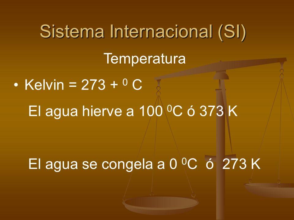 Sistema Internacional (SI) Temperatura Kelvin = 273 + 0 C El agua hierve a 100 0 C ó 373 K El agua se congela a 0 0 C ó 273 K