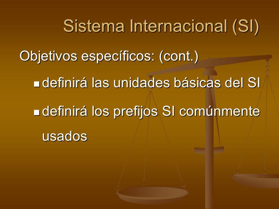 Sistema Internacional (SI) Objetivos específicos: (cont.) definirá las unidades básicas del SI definirá las unidades básicas del SI definirá los prefi