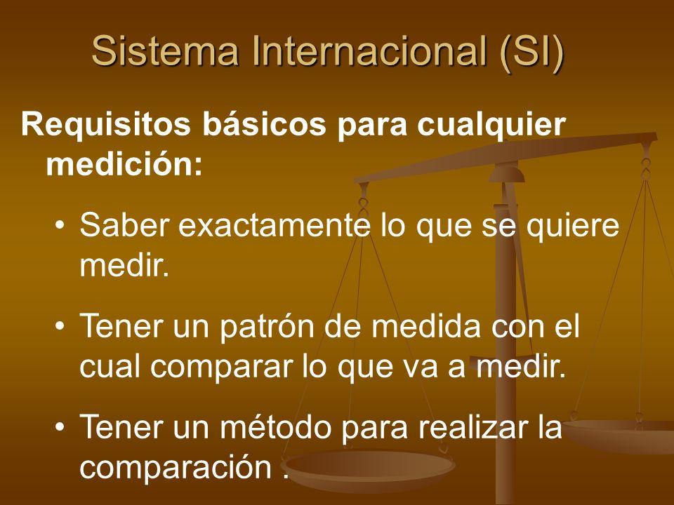 Sistema Internacional (SI) Requisitos básicos para cualquier medición: Saber exactamente lo que se quiere medir. Tener un patrón de medida con el cual