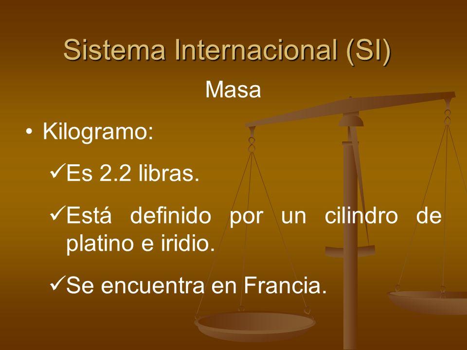 Sistema Internacional (SI) Masa Kilogramo: Es 2.2 libras. Está definido por un cilindro de platino e iridio. Se encuentra en Francia.