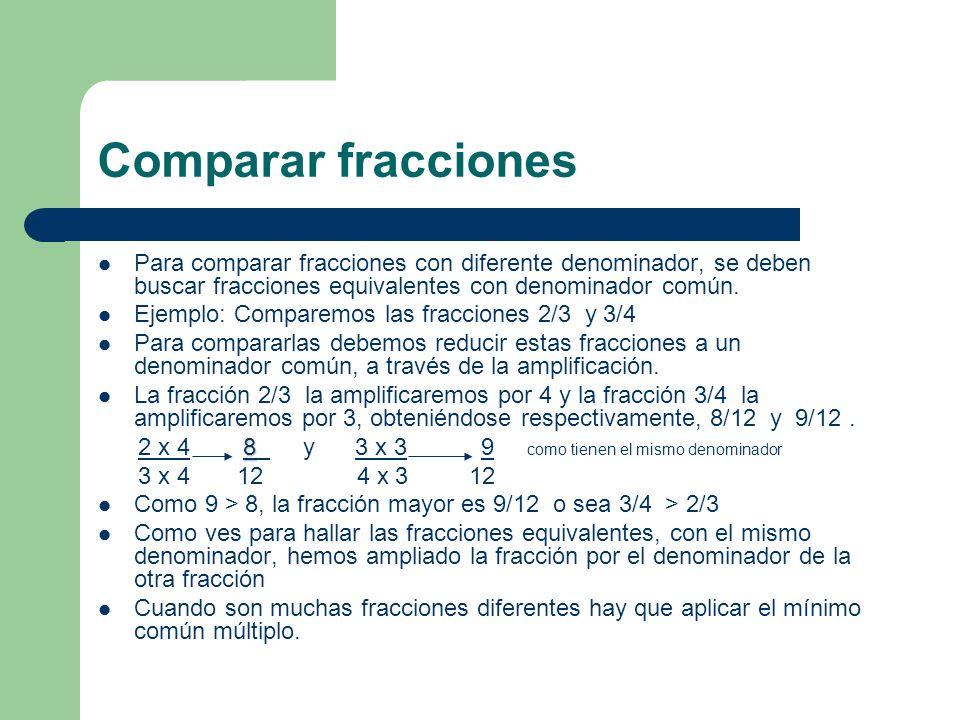 Comparar fracciones Para comparar fracciones con diferente denominador, se deben buscar fracciones equivalentes con denominador común. Ejemplo: Compar