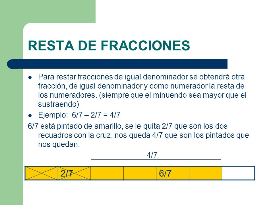 RESTA DE FRACCIONES Para restar fracciones de igual denominador se obtendrá otra fracción, de igual denominador y como numerador la resta de los numer