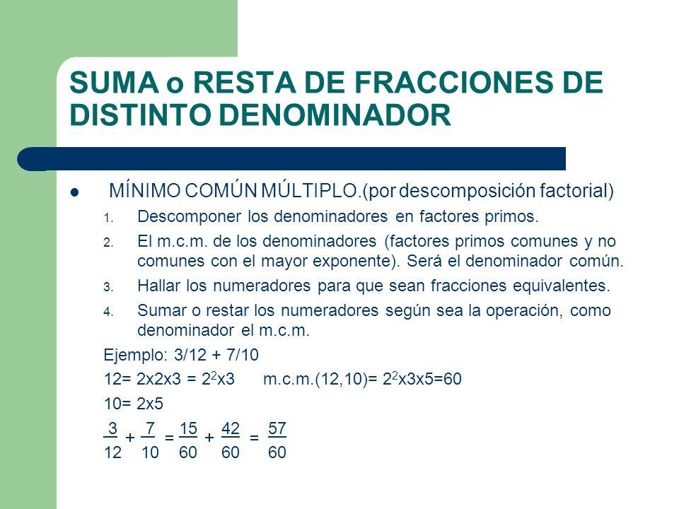 SUMA o RESTA DE FRACCIONES DE DISTINTO DENOMINADOR MÍNIMO COMÚN MÚLTIPLO.(por descomposición factorial) 1. Descomponer los denominadores en factores p