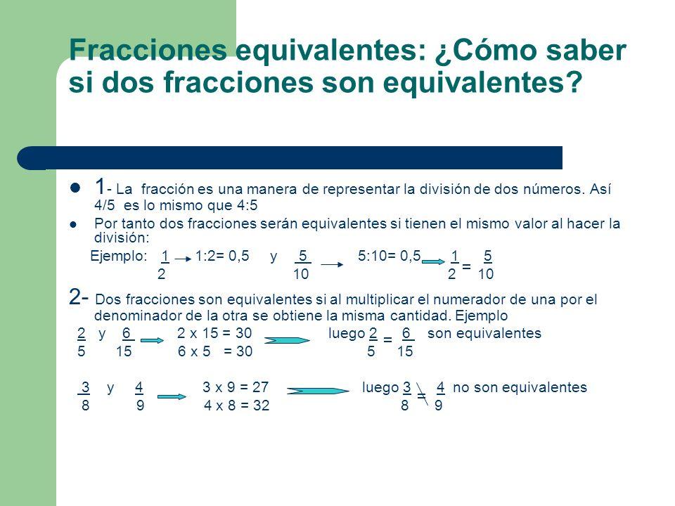 Fracciones equivalentes: ¿Cómo saber si dos fracciones son equivalentes? 1 - La fracción es una manera de representar la división de dos números. Así