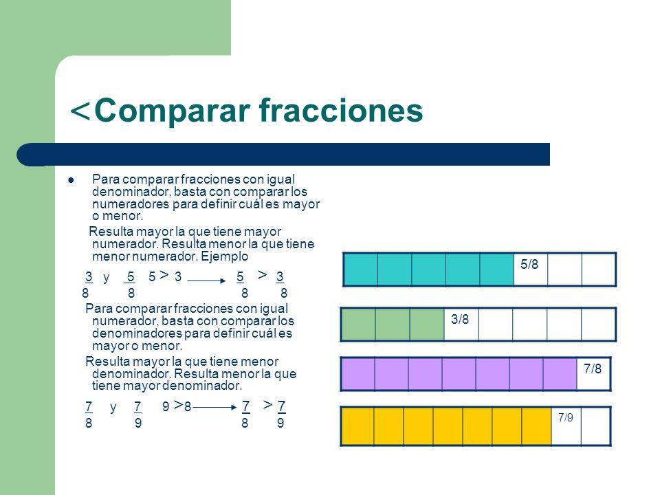 < Comparar fracciones Para comparar fracciones con igual denominador, basta con comparar los numeradores para definir cuál es mayor o menor. Resulta m