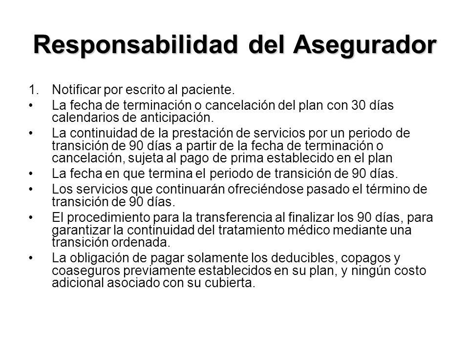 Responsabilidad del Asegurador 1.Notificar por escrito al paciente.
