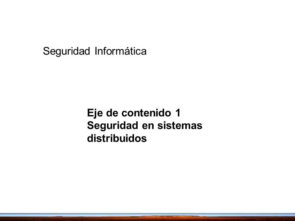 Eje de contenido 1 Seguridad en sistemas distribuidos Seguridad Informática