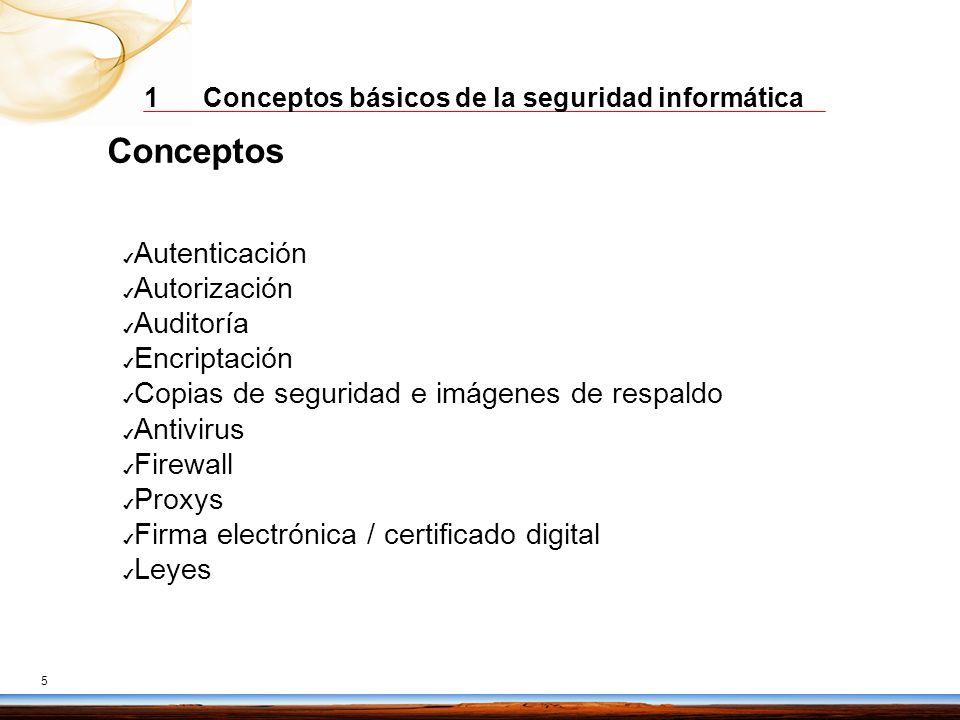 1 Conceptos básicos de la seguridad informática 5 Conceptos Autenticación Autorización Auditoría Encriptación Copias de seguridad e imágenes de respal