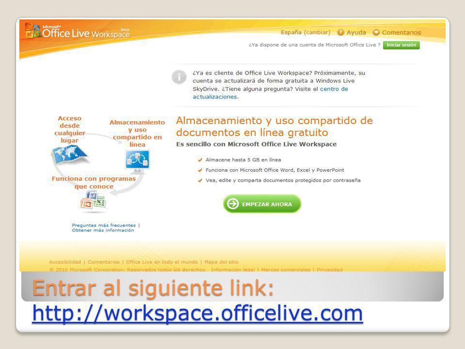 Entrar al siguiente link: http://workspace.officelive.com