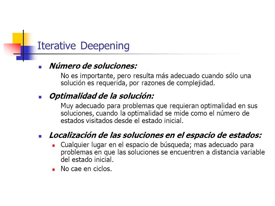 Iterative Deepening Número de soluciones: No es importante, pero resulta más adecuado cuando sólo una solución es requerida, por razones de complejida