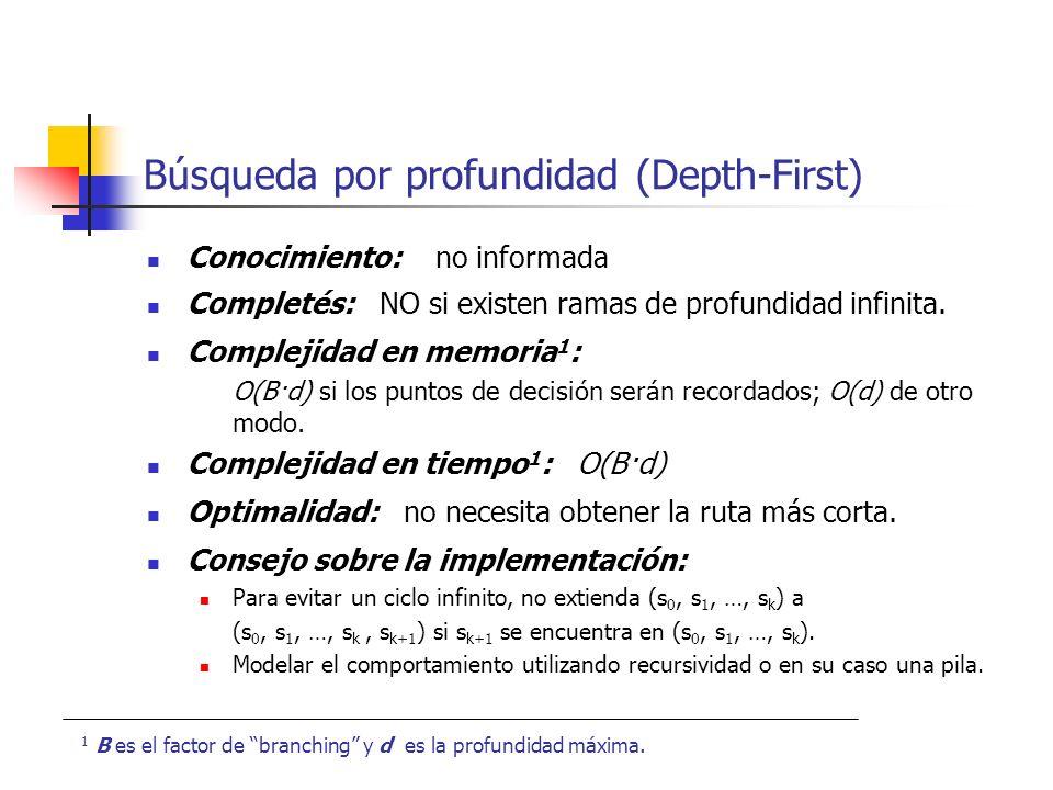 Búsqueda por profundidad (Depth-First) Conocimiento: no informada Completés: NO si existen ramas de profundidad infinita. Complejidad en memoria 1 : O