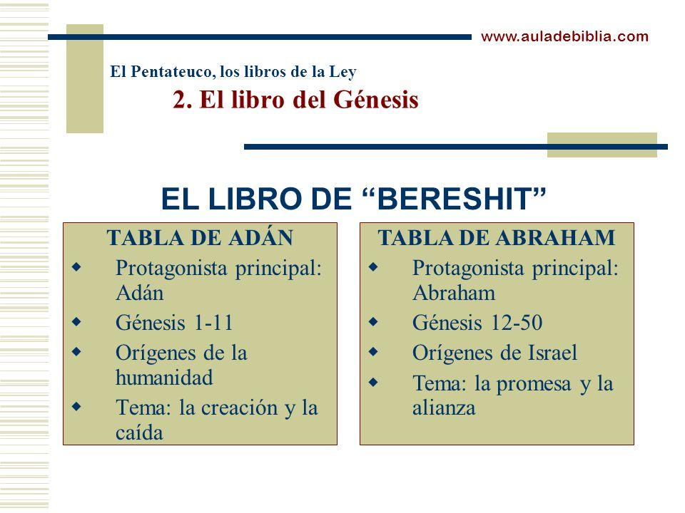 El Pentateuco, los libros de la Ley 2. El libro del Génesis TABLA DE ADÁN Protagonista principal: Adán Génesis 1-11 Orígenes de la humanidad Tema: la