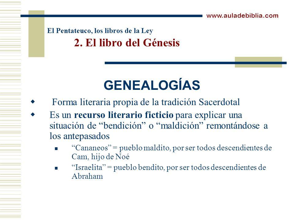 El Pentateuco, los libros de la Ley 2. El libro del Génesis Forma literaria propia de la tradición Sacerdotal Es un recurso literario ficticio para ex