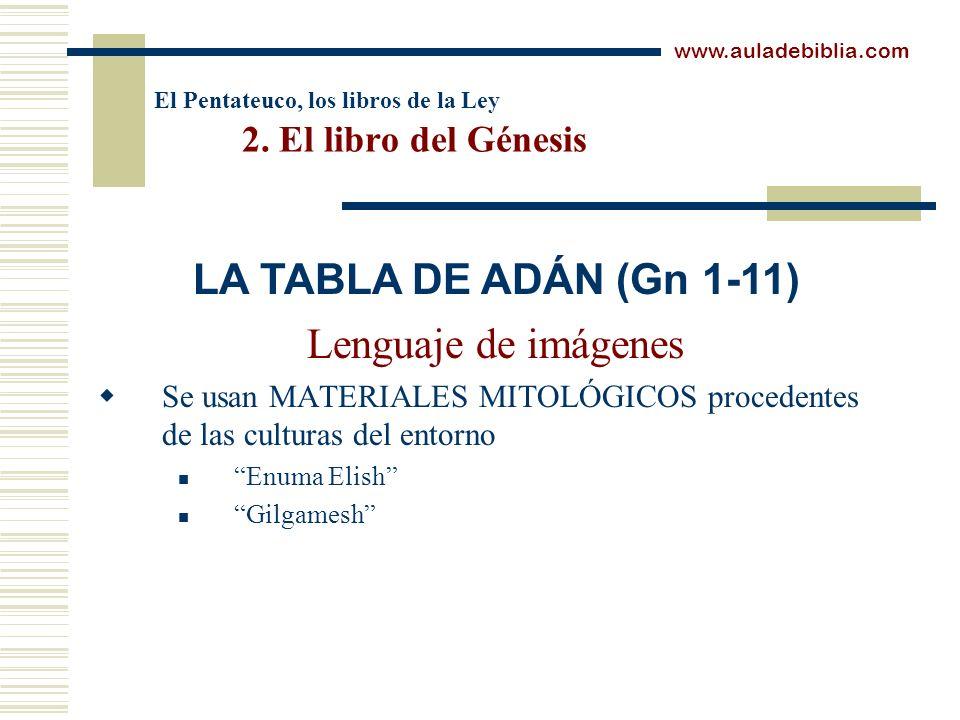 El Pentateuco, los libros de la Ley 2. El libro del Génesis Lenguaje de imágenes Se usan MATERIALES MITOLÓGICOS procedentes de las culturas del entorn