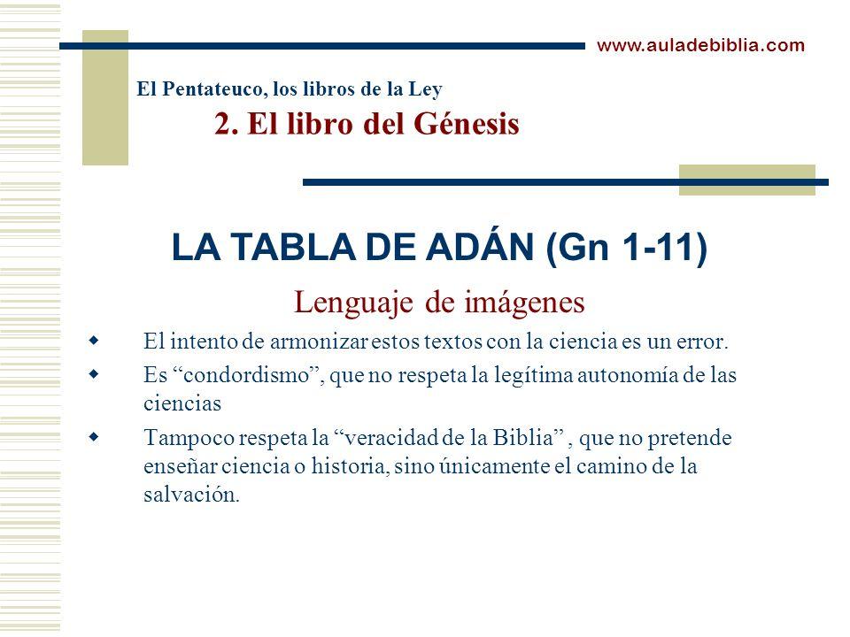 El Pentateuco, los libros de la Ley 2. El libro del Génesis Lenguaje de imágenes El intento de armonizar estos textos con la ciencia es un error. Es c