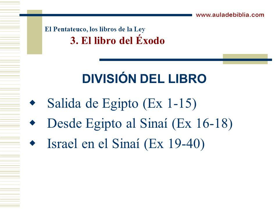 El Pentateuco, los libros de la Ley 3. El libro del Éxodo Salida de Egipto (Ex 1-15) Desde Egipto al Sinaí (Ex 16-18) Israel en el Sinaí (Ex 19-40) ww