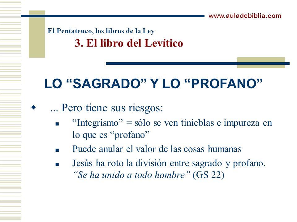 El Pentateuco, los libros de la Ley 3. El libro del Levítico... Pero tiene sus riesgos: Integrismo = sólo se ven tinieblas e impureza en lo que es pro