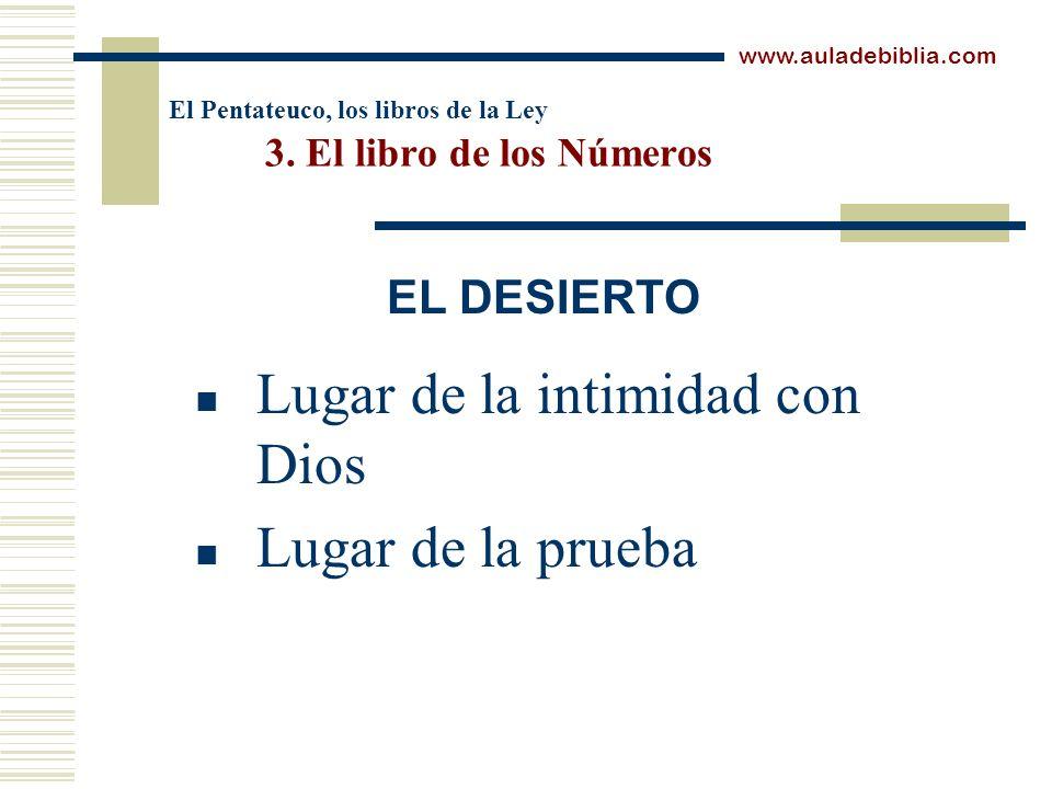 El Pentateuco, los libros de la Ley 3. El libro de los Números Lugar de la intimidad con Dios Lugar de la prueba www.auladebiblia.com EL DESIERTO