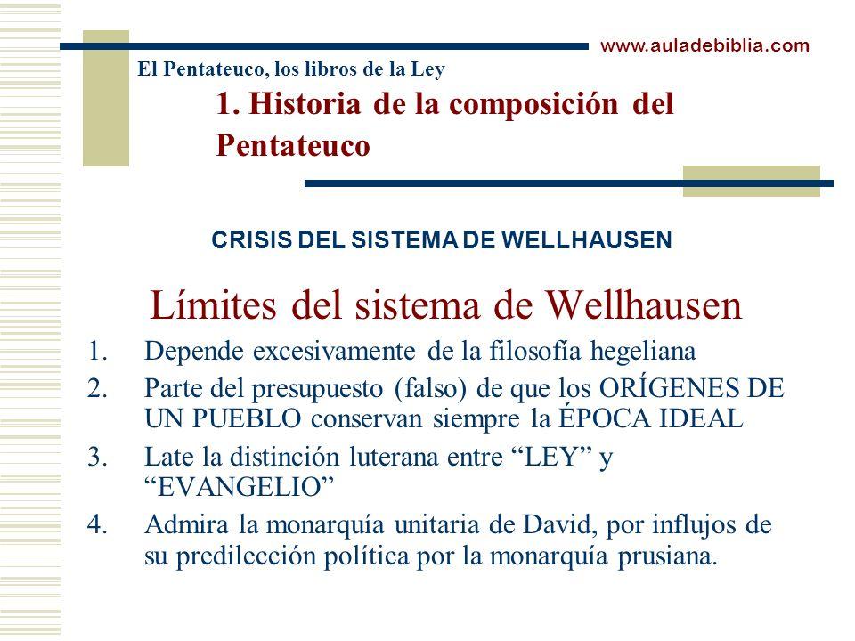 El Pentateuco, los libros de la Ley 1. Historia de la composición del Pentateuco Límites del sistema de Wellhausen 1.Depende excesivamente de la filos