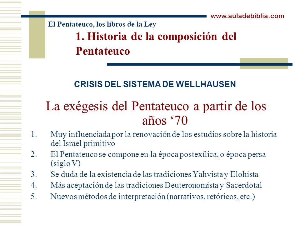 El Pentateuco, los libros de la Ley 1. Historia de la composición del Pentateuco La exégesis del Pentateuco a partir de los años 70 1.Muy influenciada