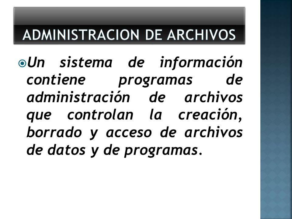 Un sistema de información contiene programas de administración de archivos que controlan la creación, borrado y acceso de archivos de datos y de progr